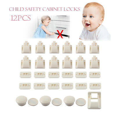 12PCS Invisible Safety Baby Magnetic Cupboard Drawers Locks Door Child Baby Pet