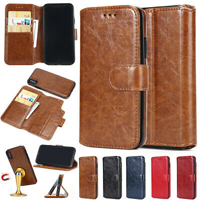Leather Magnetic Removable Detachable Wallet Flip Case For iPhone 5S Samsung