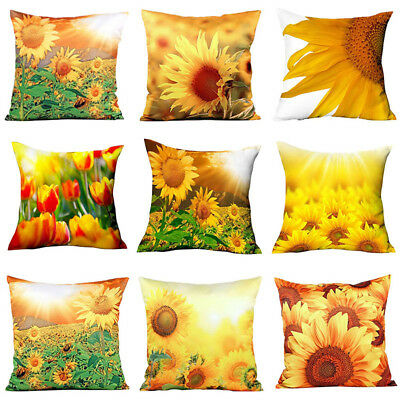 ALS_ 3D Yellow Sunflower Polyester Throw Pillow Case Cushion Cover Home Decor Ey