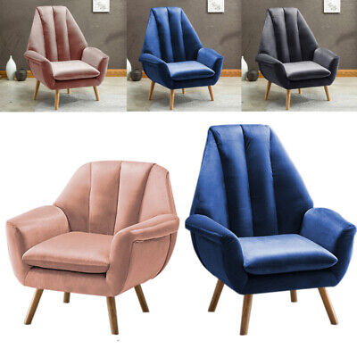 High/Mid Wingback Accent Chair Living Room Sofa Tub Armchair Velours Retro Unit