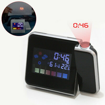 Projection Digital Alarm Clock Snooze Weather Thermometer LCD Display LED !