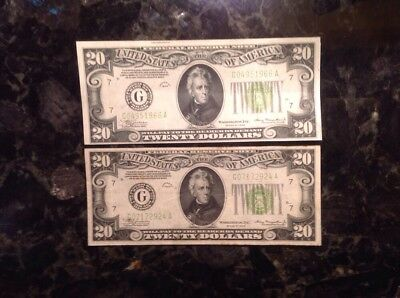 Lot Of (2) 1934   $20 Federal Reserve Note - Chicago