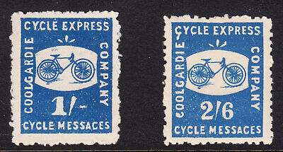 1896-Coolgardie Cycle Express Co. - Cycle Messages set (2) : 1/- No Gum, 2/- MUH