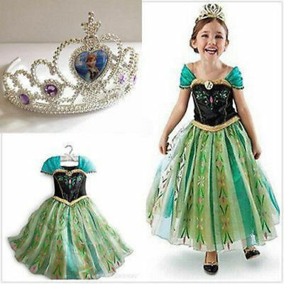 Girls ELSA ANNA Princess Costume Queen Cosplay Girls Fancy Train Dress Crown A