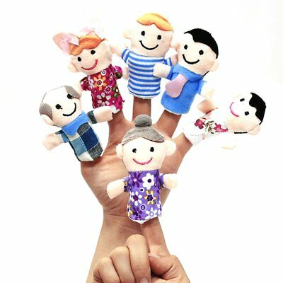 Story Finger Puppets 6 People Family Members Baby Kids Early Educational Toy W7