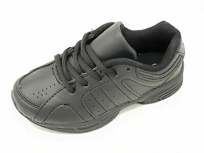 Kids Boys Girls Teens Plain Black School PE Trainers Lace Up - B