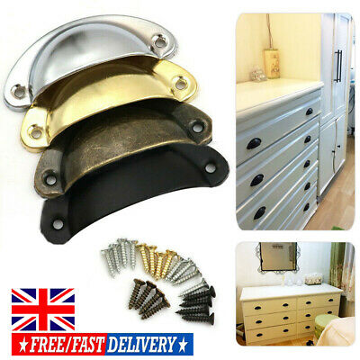 UK 6/12Pcs Cupboard Door Cabinet Cup Drawer Furniture Antique Pull Shell Handle
