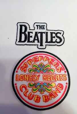 "(2) THE BEATLES  FAB FOUR embroidered iron on patches patch lot 3"" & 3"" X 2.5"""