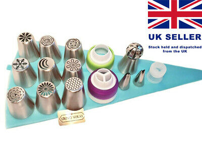 Russian Piping 26pc set 10 flower/ball tip + silicone bag, couplers & 2 leaf tip