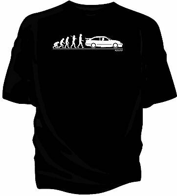 Evolution of Man classic car t-shirt. Ford Sierra Cosworth RS500