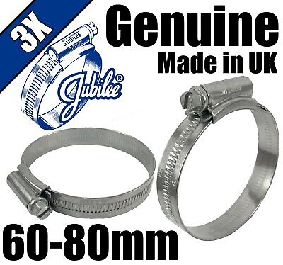 Genuine Original Jubilee Clips Steel Hose Pipe Clamps Worm Drive 60mm - 80mm 3X