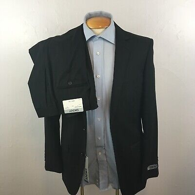New dkny 2 piece mens suit black shadow stripes slim 38r 100% wool jacket ea0022
