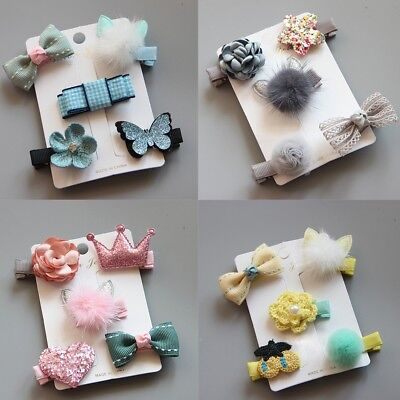2018 Cute Baby Girl Hairpin Hair Clip Bow Flower Mini Barrettes Star For-Kids*`