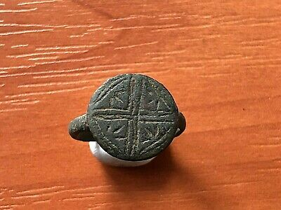 "Ancient Roman Bronze Ring ""Cross"" Circa 100-200 AD Very Rare"