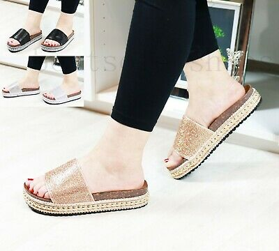 Ladies Women Diamante Platform Slider Summer Studded Slipper Comfy Sandals Shoes