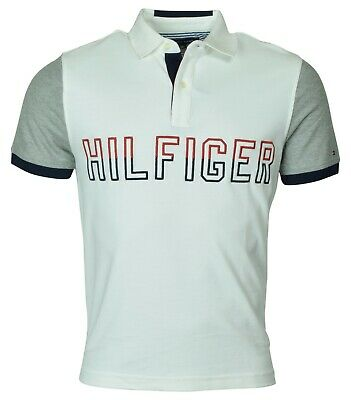 a646fb1a6 Tommy Hilfiger Men s Performance Pique Pieced Logo Polo Shirt-White-XSmall