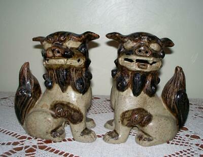"""Vintage Pair of Chinese Oriental Pottery Foo Pottery Highlyy Detail 7 1/2"""""""