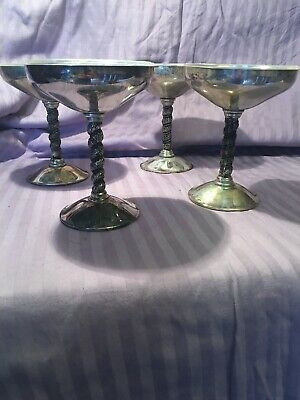 Set Of 4 Silver Plated Champagne/wine Goblets Glasses Stemware E.P.B. EPB Spain