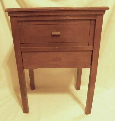 Sewing table cabinet 16 L x W 10.5 x 22 H with hinge top & drawer EUC quilt knit