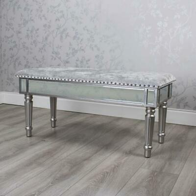 Stunning Mirrored Bench Seat Window Bench Chaise With Grey Crushed Velvet