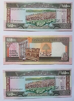 BANK of LEBANON 500 Livre note. 3 consecutive notes in mint condition Unc.