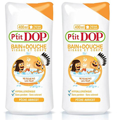 P'tit Dop Maxi Hypoallergenic Bath and Shower Gel 400 ml Peach/Apricot Pack of 2