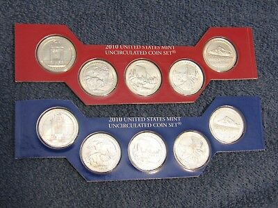 2010 P D uncirculated set of 10 US MINT CELLO P&D America The Beautiful Quarter