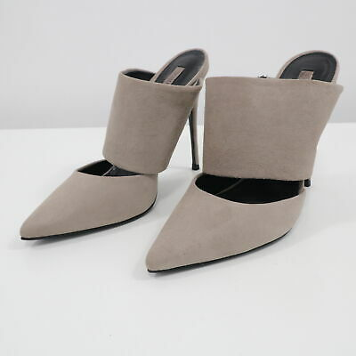 2f2163830a7e Schutz Mules Stiletto High Heels Sandals Womens 7B Cut Out Suede Taupe  GrayBeige