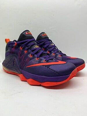 half off 35940 260a5 Nike Lebron XII Low Raptors Court Purple Bright Crimson 724557-565 Mens Size  10