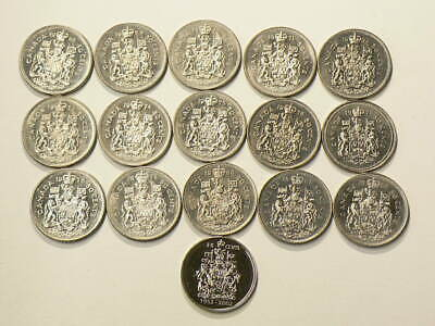 Canada Lot of 16 50 Cents 1968 to 1982 & 2002 Ascension  All Unc. #2760