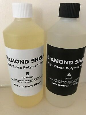 DIAMOND SHEEN 2 Part High Build Polymer Decoupage Varnish 1 Litre Pack.