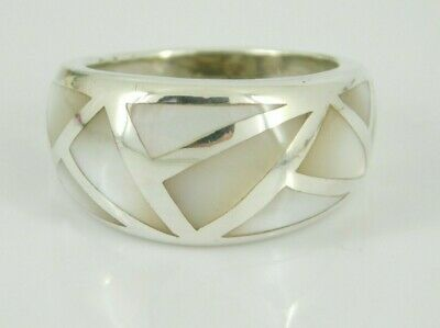 925 Sterling Silver Multi-color Mother-of-pearl Inlay Ring Size 9 Fine Jewelry