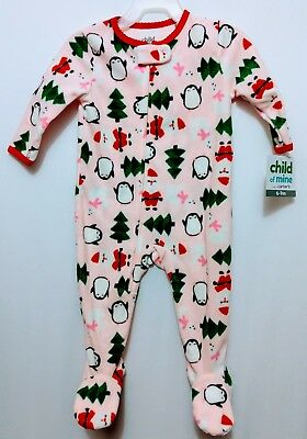 New Carters sleepwear Girls Baby one piece fleece footed pajamas Christmas  6-18M 1c9f690a2
