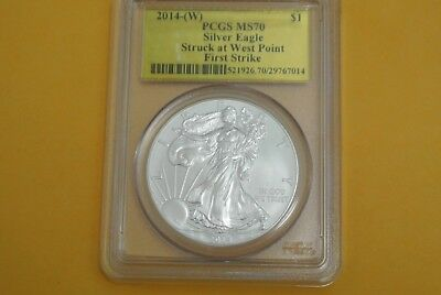 2014-(W) Silver Eagle ~ Pcgs Ms70 ~ First Strike ~ Gold Foil Label