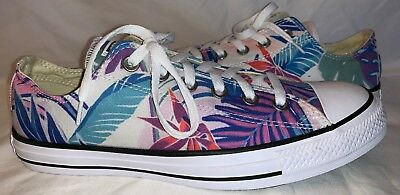 Womens Size 10 CONVERSE ALL STAR Low Top Sneakers Blue White Floral Tropical 1ff63bede
