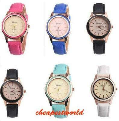Women Girl Analog Quartz Ladies Wrist Watches Leather Fashion Coloured Strap