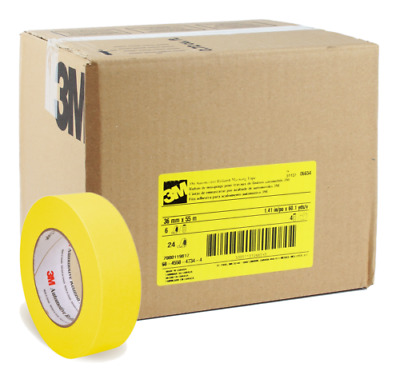 """3M 06654 Automotive Refinish Yellow Masking Tape Rolls 1.5"""" in. 1 Case 24 Pack"""