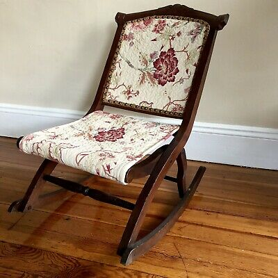 Petite Antique Asian Rocking Chair Newly Reupholstered