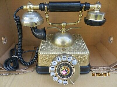 Vintage French/Victorian Style Rotary Phone Brass/Black Bakelite Combo.....