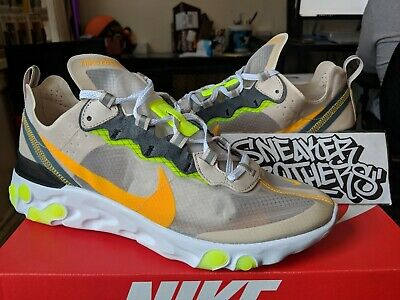 79aa3f18 NIKE REACT ELEMENT 87 Orewood Brown 12 Laser Orange Volt AQ1090-101 ...