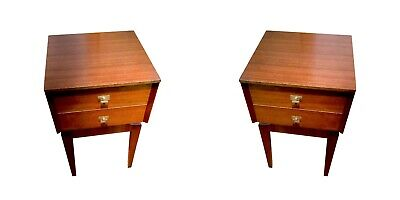 Pair of Bedside Tables / Drawers by Limelight - Teak Space Age / Atomic / 50s