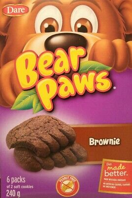 Dare Bear Paws Soft Cookies Brownie 6 boxes of 12 x 240g Canadian
