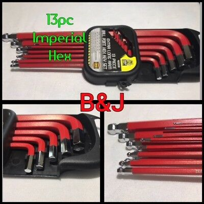 13pc Extra Long Arm Hex Allen Key Set Ball Point Imperial SAE Allan Red Chrome T