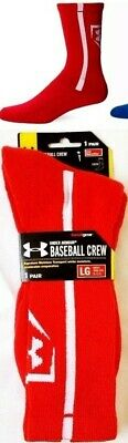 046fe40553 UNDER ARMOUR UA Men's Baseball Crew Socks Large Blue Red One Pair New w Tags