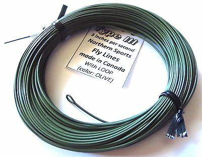 WF-6-S type 3 FULL SINK FLY LINE with LOOPS 3ips ***Made in Canada***