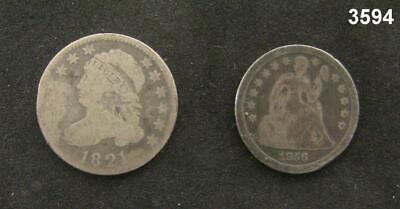 1856 Seated Liberty Dime Good & 1821 Bust Dime Ag 2 Coin Lot! #3594