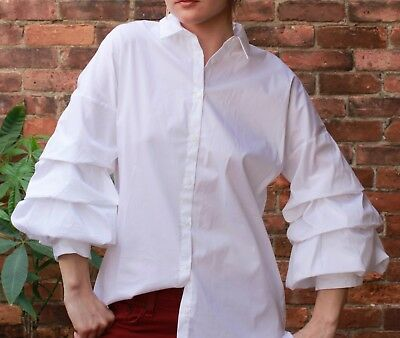 c728d39a7288c ZARA WHITE POPLIN Button Down SHIRT Blouse Top with PLEATED SLEEVES ...