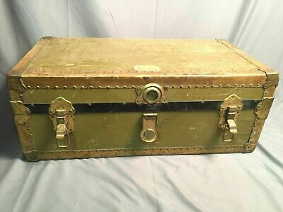 Leather Storage Trunk Very Old Vintage Industrial Steamer Army K St C.c.