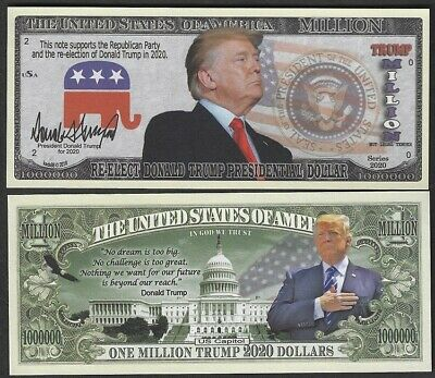 Re-Elect Donald Trump Vote Republican 2020 Million - Lot of 2 Bills