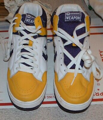 8f0e336c6cd Converse Weapon Hi Magic Johnson Gold Purple Size 10.5 Lakers NBA Basketball